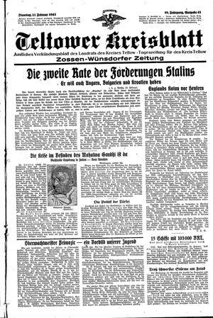 Teltower Kreisblatt vom 23.02.1943