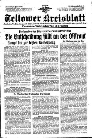 Teltower Kreisblatt vom 25.02.1943