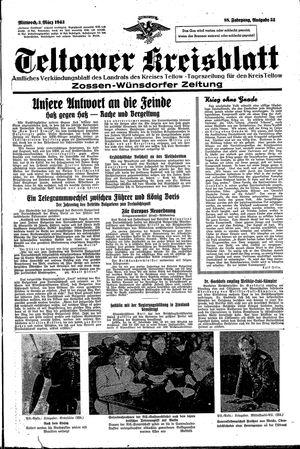 Teltower Kreisblatt vom 03.03.1943