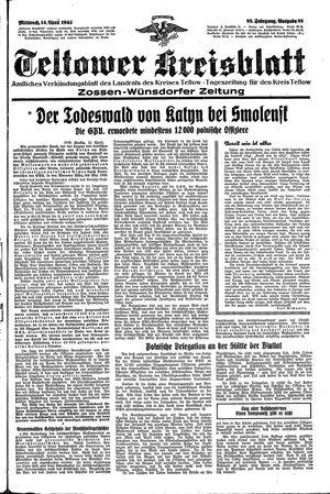 Teltower Kreisblatt vom 14.04.1943