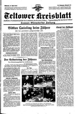 Teltower Kreisblatt vom 21.04.1943