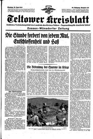 Teltower Kreisblatt vom 29.06.1943
