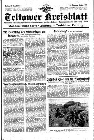 Teltower Kreisblatt vom 13.08.1943