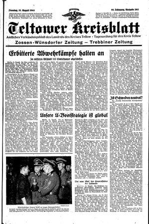 Teltower Kreisblatt vom 31.08.1943