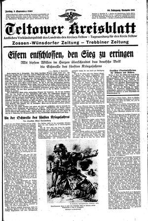 Teltower Kreisblatt vom 03.09.1943