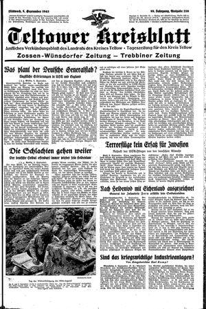 Teltower Kreisblatt vom 08.09.1943