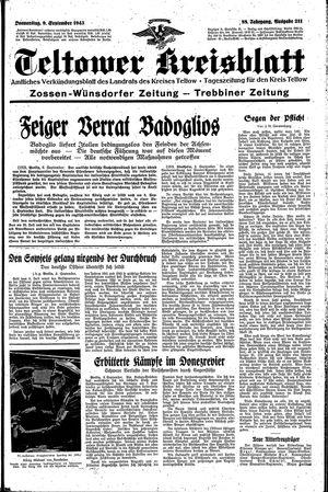 Teltower Kreisblatt vom 09.09.1943