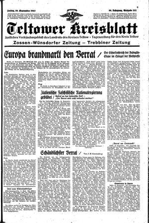 Teltower Kreisblatt vom 10.09.1943