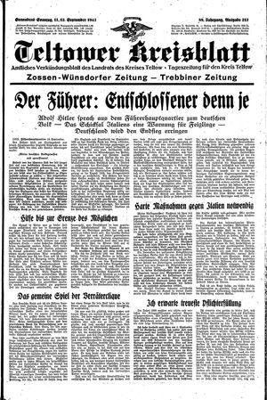 Teltower Kreisblatt vom 11.09.1943