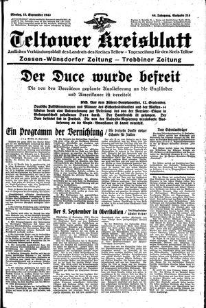 Teltower Kreisblatt vom 13.09.1943