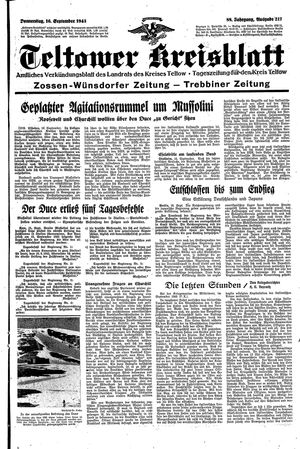 Teltower Kreisblatt vom 16.09.1943
