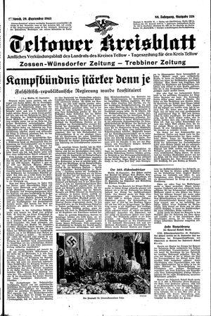 Teltower Kreisblatt vom 29.09.1943