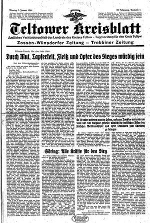 Teltower Kreisblatt vom 03.01.1944