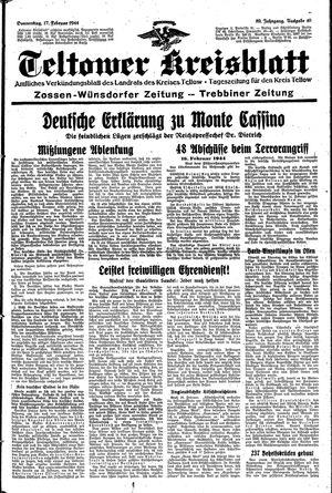 Teltower Kreisblatt vom 17.02.1944