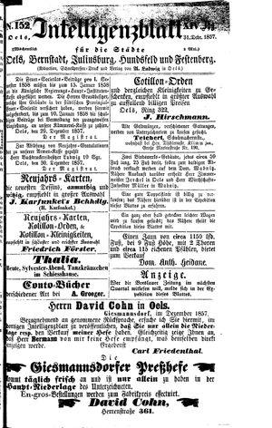 Intelligenzblatt für die Städte Oels, Bernstadt, Juliusburg, Hundsfeld und Festenberg vom 31.12.1857