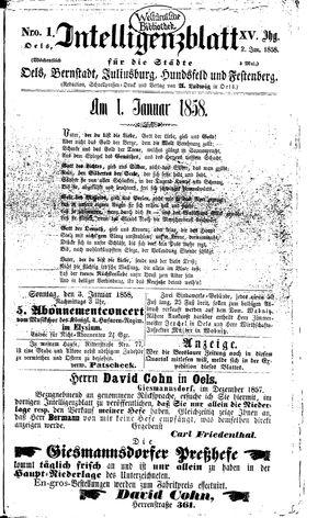 Intelligenzblatt für die Städte Oels, Bernstadt, Juliusburg, Hundsfeld und Festenberg on Jan 2, 1858