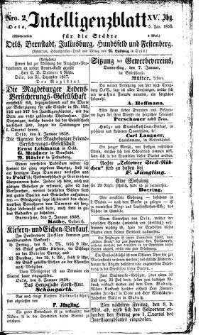 Intelligenzblatt für die Städte Oels, Bernstadt, Juliusburg, Hundsfeld und Festenberg vom 05.01.1858