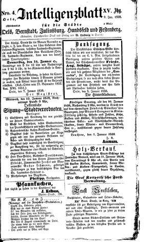 Intelligenzblatt für die Städte Oels, Bernstadt, Juliusburg, Hundsfeld und Festenberg vom 09.01.1858