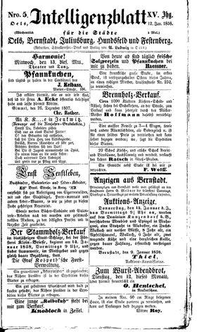 Intelligenzblatt für die Städte Oels, Bernstadt, Juliusburg, Hundsfeld und Festenberg vom 12.01.1858