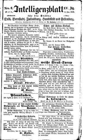 Intelligenzblatt für die Städte Oels, Bernstadt, Juliusburg, Hundsfeld und Festenberg vom 14.01.1858