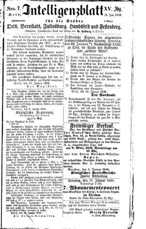 Intelligenzblatt für die Städte Oels, Bernstadt, Juliusburg, Hundsfeld und Festenberg vom 16.01.1858