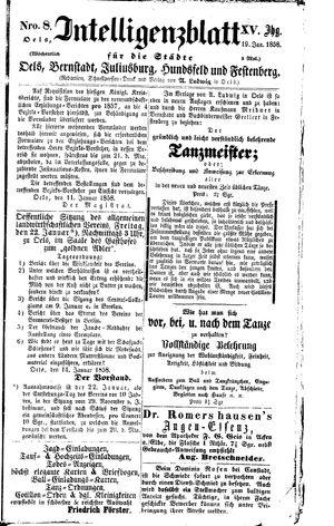Intelligenzblatt für die Städte Oels, Bernstadt, Juliusburg, Hundsfeld und Festenberg vom 19.01.1858
