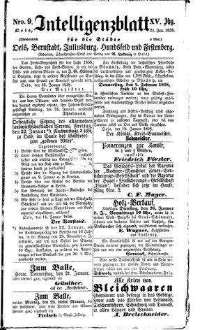Intelligenzblatt für die Städte Oels, Bernstadt, Juliusburg, Hundsfeld und Festenberg vom 21.01.1858