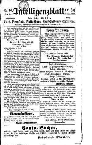 Intelligenzblatt für die Städte Oels, Bernstadt, Juliusburg, Hundsfeld und Festenberg on Jan 23, 1858