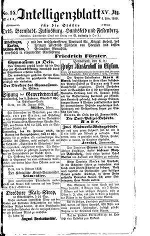 Intelligenzblatt für die Städte Oels, Bernstadt, Juliusburg, Hundsfeld und Festenberg vom 04.02.1858