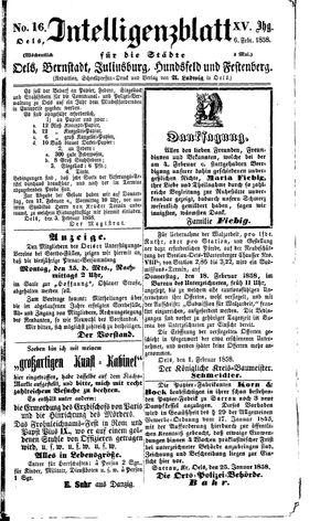 Intelligenzblatt für die Städte Oels, Bernstadt, Juliusburg, Hundsfeld und Festenberg vom 06.02.1858