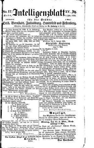 Intelligenzblatt für die Städte Oels, Bernstadt, Juliusburg, Hundsfeld und Festenberg vom 09.02.1858