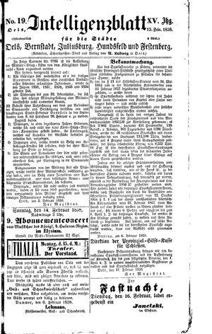 Intelligenzblatt für die Städte Oels, Bernstadt, Juliusburg, Hundsfeld und Festenberg vom 13.02.1858