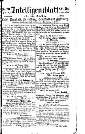 Intelligenzblatt für die Städte Oels, Bernstadt, Juliusburg, Hundsfeld und Festenberg vom 16.02.1858