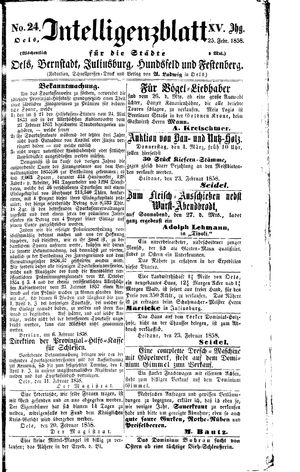 Intelligenzblatt für die Städte Oels, Bernstadt, Juliusburg, Hundsfeld und Festenberg vom 25.02.1858