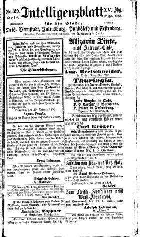 Intelligenzblatt für die Städte Oels, Bernstadt, Juliusburg, Hundsfeld und Festenberg vom 27.02.1858