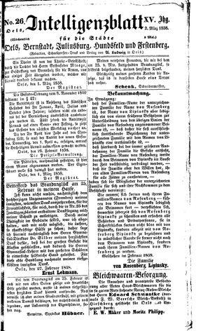 Intelligenzblatt für die Städte Oels, Bernstadt, Juliusburg, Hundsfeld und Festenberg vom 02.03.1858