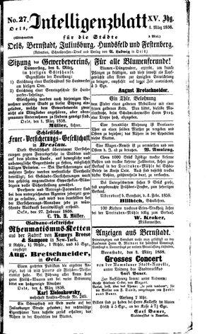 Intelligenzblatt für die Städte Oels, Bernstadt, Juliusburg, Hundsfeld und Festenberg vom 04.03.1858