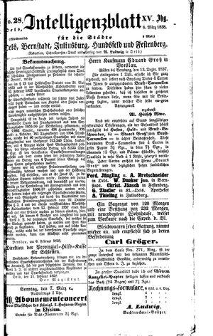 Intelligenzblatt für die Städte Oels, Bernstadt, Juliusburg, Hundsfeld und Festenberg vom 06.03.1858