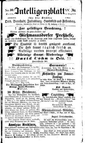 Intelligenzblatt für die Städte Oels, Bernstadt, Juliusburg, Hundsfeld und Festenberg vom 11.03.1858