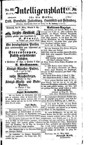 Intelligenzblatt für die Städte Oels, Bernstadt, Juliusburg, Hundsfeld und Festenberg vom 16.03.1858