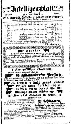 Intelligenzblatt für die Städte Oels, Bernstadt, Juliusburg, Hundsfeld und Festenberg vom 18.03.1858