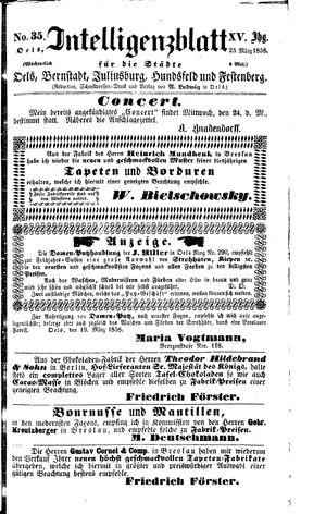 Intelligenzblatt für die Städte Oels, Bernstadt, Juliusburg, Hundsfeld und Festenberg vom 23.03.1858