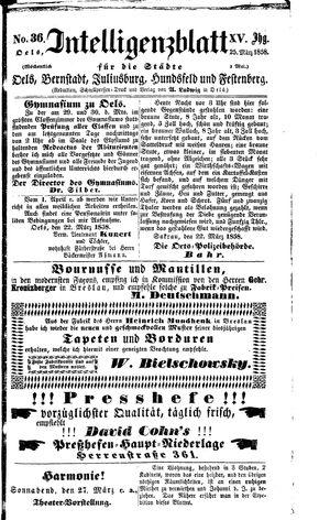 Intelligenzblatt für die Städte Oels, Bernstadt, Juliusburg, Hundsfeld und Festenberg vom 25.03.1858