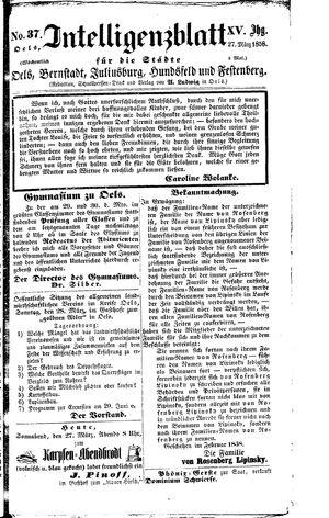 Intelligenzblatt für die Städte Oels, Bernstadt, Juliusburg, Hundsfeld und Festenberg vom 27.03.1858