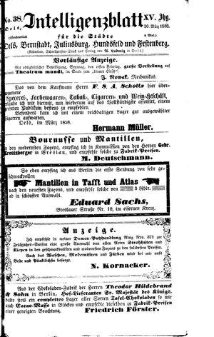 Intelligenzblatt für die Städte Oels, Bernstadt, Juliusburg, Hundsfeld und Festenberg vom 30.03.1858