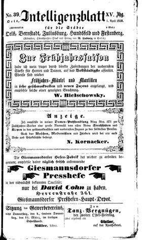 Intelligenzblatt für die Städte Oels, Bernstadt, Juliusburg, Hundsfeld und Festenberg vom 01.04.1858