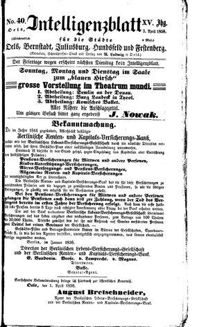 Intelligenzblatt für die Städte Oels, Bernstadt, Juliusburg, Hundsfeld und Festenberg vom 03.04.1858