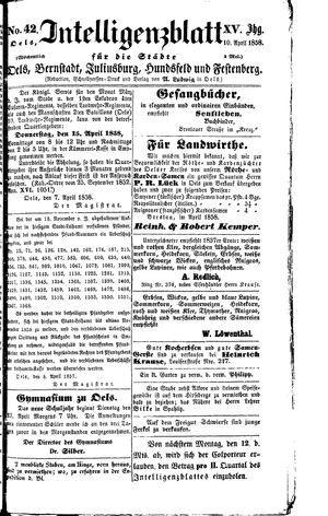 Intelligenzblatt für die Städte Oels, Bernstadt, Juliusburg, Hundsfeld und Festenberg vom 10.04.1858