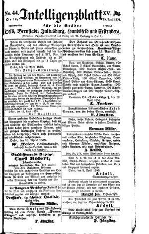Intelligenzblatt für die Städte Oels, Bernstadt, Juliusburg, Hundsfeld und Festenberg vom 15.04.1858