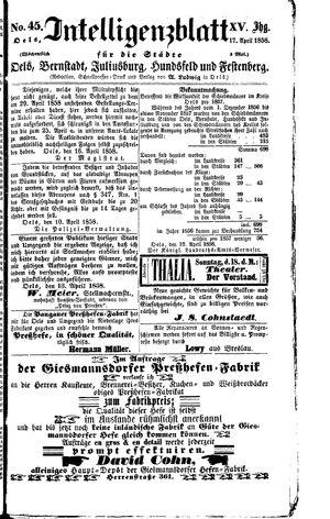 Intelligenzblatt für die Städte Oels, Bernstadt, Juliusburg, Hundsfeld und Festenberg vom 17.04.1858